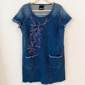 Nanette Lepore Denim Tee Dress Chambray Size L